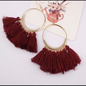 Jewelry - Burgundy Boho Tassel Earnings NWT